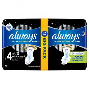 ALWAYS Ultra Secure Night Hygienické vložky s krídelkami 12 ks