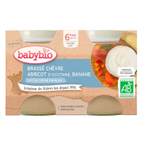 BABYBIO Brassé z kozieho mlieka marhuľa banán 2x 130 g