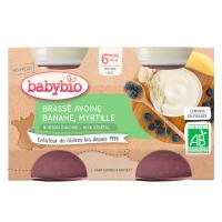 BABYBIO Brassé z ovseného mlieka banán čučoriedka 2x 130 g