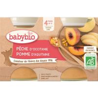 BABYBIO príkrm broskyňa a jablko 2x130 g