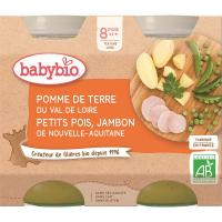 BABYBIO menu zemiaky a hrášok so šunkou 2x200 g