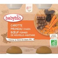 BABYBIO menu mrkvu a sušené slivky s hovädzím mäsom 2x200 g