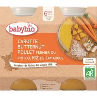 BABYBIO mrkva s maslovou tekvíc, kuraťom a ryžou 2x200 g