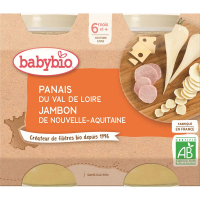 BABYBIO Denné menu Paštrnák, šunka a syr gruyère 2x200 g
