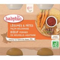 BABYBIO Denné menu Zelenina s cestovinami na bolonský spôsob s farmárskym hovädzím mäsom 2x200 g