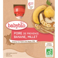 BABYBIO kapsička hruška banán proso 4x90 g