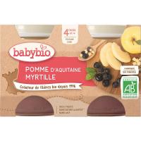 BABYBIO príkrm jablko a čučoriedky 2x130 g