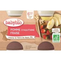 BABYBIO príkrm jablko a jahoda 2x130 g