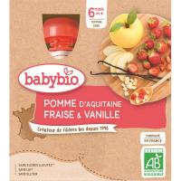 BABYBIO Kapsička Jablko s jahodou a vanilkou 4x90 g