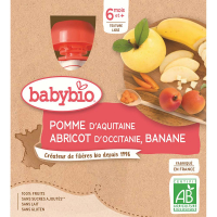 BABYBIO Kapsička Jablko s marhuľou a banánom 4x90 g