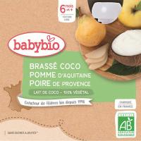 BABYBIO Desiata s kokosovým mliekom - Jablko a hruška 4 x 85 g