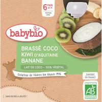 BABYBIO Desiata s kokosovým mliekom - Kiwi a banán 4 x 85 g