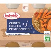 BABYBIO Večerné menu Mrkva so sladkými zemiakmi a pšenicou 2x200 g