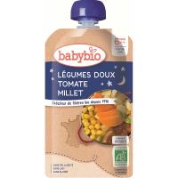 BABYBIO kapsička večerné pyré sladká zelenina s paradajkami a prosom 120 g
