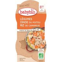 BABYBIO menu zelenina s morčacím mäsom a ryžou 2x200 g