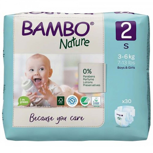 BAMBO Nature 2 Detské plienkové nohavičky 3-6 kg 30 ks