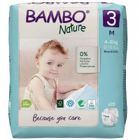 BAMBO Nature 3 Detské plienkové nohavičky 4-8 kg 28 ks