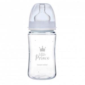 CANPOL BABIES Fľaša so širokým hrdlom ROYAL BABY modrá 240 ml