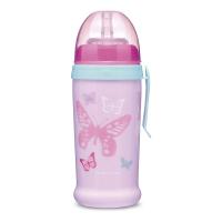 CANPOL BABIES Fľaša športová s nevylievacou slamkou MOTÝLIK ružová 350 ml