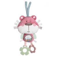 CANPOL BABIES Plyšová edukačná zaväzovacia hračka PASTEL FRIENDS ružový medvedík