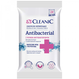 CLEANIC Antibacterial Vlhčené obrúsky 24 ks