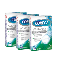 COREGA Whitening antibakteriálne tablety 3 balenia 30 kusov
