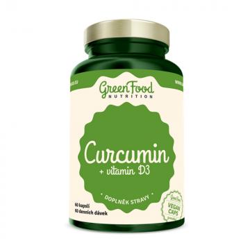 GREENFOOD NUTRITION Curcumin + Vitamín D3 60 kapsúl