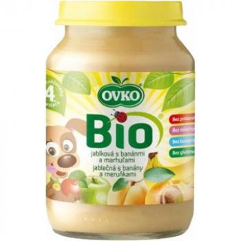 Detská výživa jablčná s banánmi a marhuľami OVKO 190g - BIO