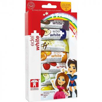 EDEL + WHITE Ovocné zubné pasty pre deti 7 kusov x 9.3 ml