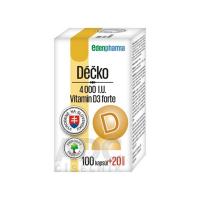 EDENPHARMA Déčko 4000 I.U. vitamín D3 forte 100+20 kapsúl ZADARMO