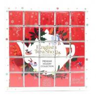 ENGLISH TEA Červený adventný kalendár puzzle 25 pyramídiek