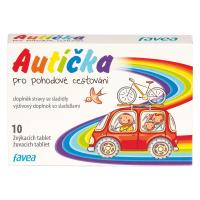FAVEA Autíčka pre pohodlné cestovanie 10 žuvacích tabliet