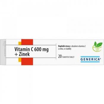 GENERICA Vitamín C 600 mg + Zinok 20 tabliet