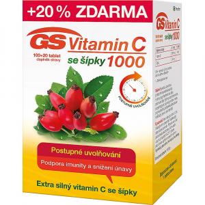 GS Vitamín C 1000 so šípkami 100+20 kapsúl ZDARMA