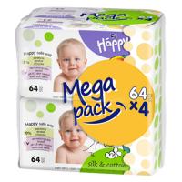 HAPPY Mega Pack Čistiace vlhčené obrúsky Hodváb & Bavlna 4x64 ks 256 ks