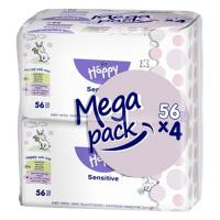 HAPPY Mega Pack Čistiace vlhčené obrúsky Sensitive 56x4 ks 224 ks