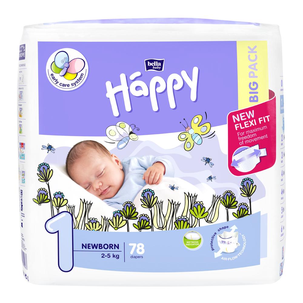HAPPY Newborn Big Pack Detské plienky 25kg 78 ks