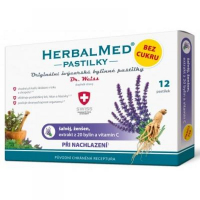 HerbalMed pastilky Dr.Weiss BEZ CUKRU Šalvia + ženšen + vitamín C