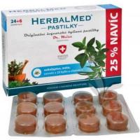 HERBALMED Pastilky Eukalyptus, mäta, vitamín C 24 + 6 pastiliek