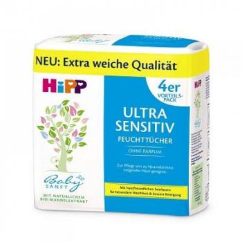 HIPP BabySanft Čistiace vlhčené obrúsky Ultra Sensitiv 4x52 kusov