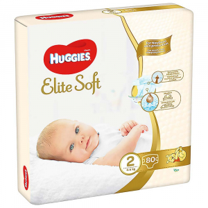 HUGGIES Elite Soft 2 4 až 6 kg 80 ks