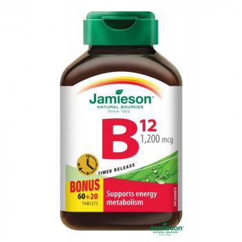 JAMIESON Vitamín B12 metylkobalamín 1200 μg s postupným uvoľňovaním 60 + 20 tabliet ZADARMO