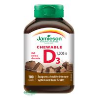 JAMIESON Vitamín D3 1000 IU čokoláda 100 tabliet na cmúľanie