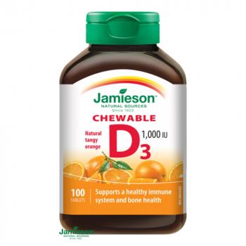 JAMIESON Vitamín D3 1000 IU pomaranč 100 tabliet na cmúľanie