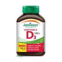 JAMIESON Vitamín D3 1000 IU 150+30 kapsúl ZADARMO
