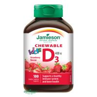 JAMIESON Vitamín D3 Kids 400 IU jahoda 100 cmuľacích tabliet