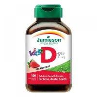 Jamieson Vitamín D3 Kids 400 IU tablety na cmúľanie s príchuťou jahody pre deti 100 tabliet