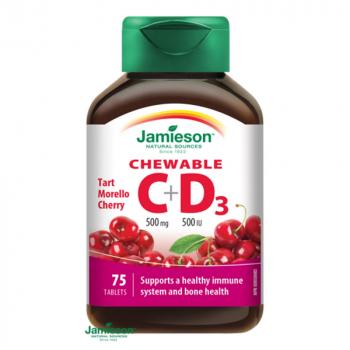JAMIESON Vitamíny C a D3 500 mg/ 500 IU čerešňa 75 tabliet na cmúľanie