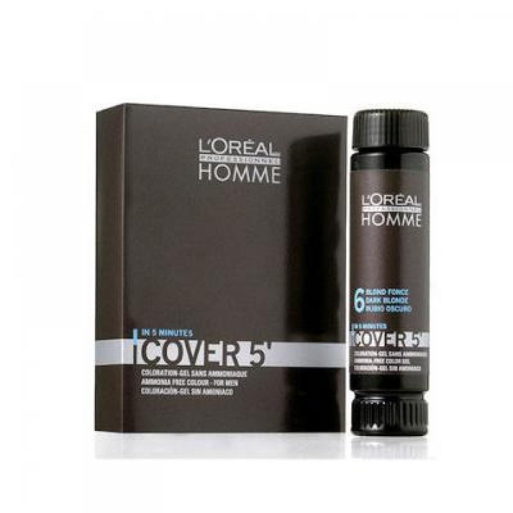 L'ORÉAL Homme Cover 5 gélová farba na vlasy Tmavo hnedá 3x50 ml