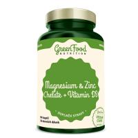 GREENFOOD NUTRITION Horčík a zinok cheláty + vitamín D3 90 kapsúl